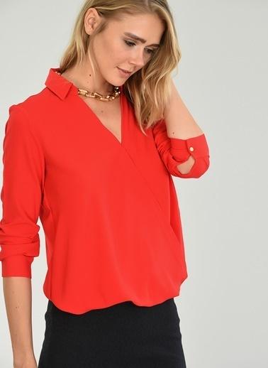 People By Fabrika Kruvaze Kapamalı Bluz Kırmızı